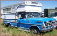 1972 Ford F-250 Camper Special with Alaskan Camper For Sale right front view