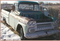 "1959 Chevrolet Apache 3200 1/2 Ton 123"" LWB Fleetside Pickup For Sale $4,000 right front view"