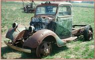 1936 Ford 1 1/2 ton truck with 2 speed Eation differential left front view for sale $6,000