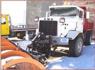 1988 FWD Model RB44-2312 4X4 semi snow plow with dump bed and spreader left front view