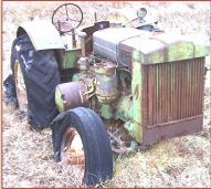 1948 JD John Deere Model D with steering brakes and brake set lever right front view