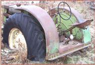1948 JD John Deere Model D with steering brakes and brake set lever left rear view