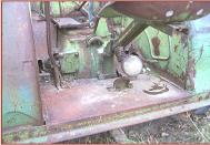 1948 JD John Deere Model D with steering brakes and brake set lever rear brake control area view
