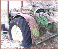 1949 JD John Deere Model D with steering brakes and PTO left rear view